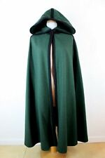 Womens VINTAGE Mod HOODED LONG WOOL CLOAK CAPE COAT Green Made in USA One Size
