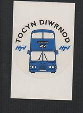 HTV Cymru Tocyn Diwrnod Sticker on postcard. Blue Bus.   zd187