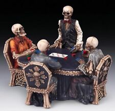 POLYRESIN SKELETON SKULL POKER GAME TABLE GOTHIC HALLOWEEN PARTY BIKER GIFT NIB