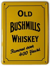 BUSHMILLS IRISH WHISKEY YELLOW Small Metal Tin Pub Sign