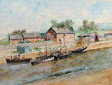 Belle Aquarelle Henri Menessier Vue de Port Canal Bateaux 26 x 34 cms