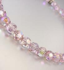 "LUXURIOUS SHIMMER Faceted Light Pink AB Czech Crystals 15"" Choker Necklace"