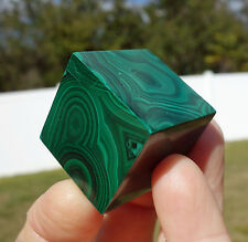 MALACHITE Crystal CUBE Solid DEEP Green Sacred Geometry Point Stone Copper