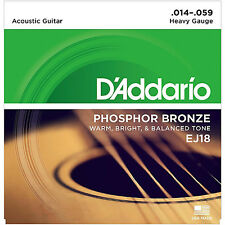 D'Addario Phosphor Bronze Acoustic Guitar Strings 14-59 heavy gauge; EJ18