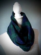 Black Watch Tartan neckwarmer snood cowl loop scarf green and blue plaid check
