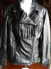LAST KISS BEAUTIFUL BLACK FAUX LEATHER FRINGE JACKET (LOOKS REAL!)  SIZE L