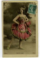 c 1905 French Music Hall Cabaret ODETTE AUBER Dance theater Litho photo postcard