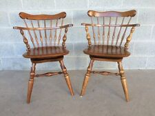 ETHAN ALLEN PAIR OF SWIVEL MAPLE COMB BACK WINDSOR CHAIRS/DESK CHAIRS 10-6051