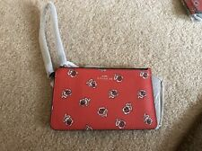 COACH - New Red Rose LEATHER Wristlet Wallet