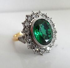 Antique ART DECO 18ct & Platinum Faux Diamonds & Emerald Cocktail Ring: UK: N