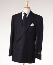 NWT $3995 D'AVENZA Charcoal Gray Chalkstripe Flannel Wool Suit 40 R Classic-Fit