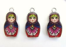 "10 Russian Doll Girl 1"" Enamel Charm/Bracelet/Bead/Beading/Holiday Craft EK26"