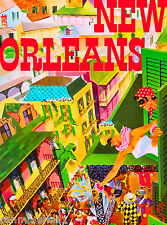 New Orleans Louisiana Mardi Gras Mask United States Travel Advertisement Poster