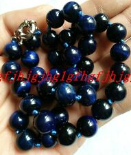 AAA+ Beautiful 12mm natural blue Tiger's Eye Round Beads Necklace 18 ""