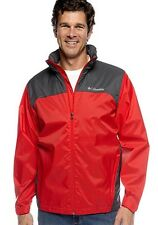 NEW COLUMBIA MEN'S GLENNAKER LAKE RAIN JACKET PACKABLE HOODED SMALL / MEDIUM RED