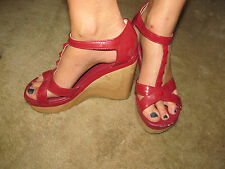 PLAYBOY ladies RED WOOD WEDGE HEEL SANDALS sz 9