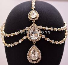 STATEMENT GLAM DRAPING DIAMANTE RHINESTONE HAIR CHAIN HEAD PIECE GOLD SILVER