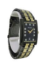 Pulsar PXDB21 Men's Black Rectangular Analog Swarovski Crystal Date Watch