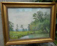 tableau  aquarelle de Casimir Raymond peinture bord de rivière campagne painting