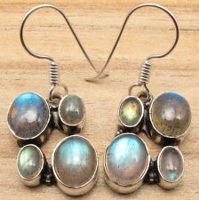 Shines From Every Angle ! 925 Silver Overlay Multi Gemstone LABRADORITE Earrings