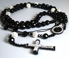 Handmade Attractive Shamballa  Rosary Necklace with Disco Balls &Crystal BeadS.