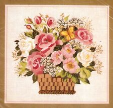 "Vintage Erica Wilson ""Basket of Roses"" Columbia Minerva Crewel Embroidery Kit"