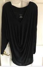 Jennifer Lopez Black V neck Bat Wing drape Shirt Top Shirt S