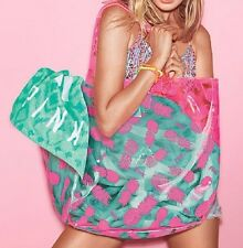 Victoria's Secret Pink Clear Neon Pineapple Beach Tote Bag RARE SPRING BREAK NIP