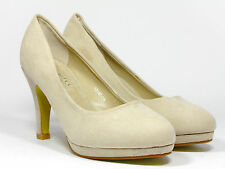 Womens Stiletto Mid Heels Pump Court Suede Leather Shoes Sizes