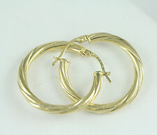 18k Yellow Gold Twisted Hoop Earrings, (NEW 25mm diameter, 3 mm thick, 2.1g)2646