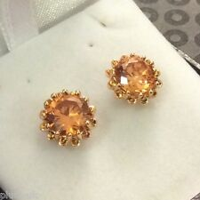 G18. Plum UK 10mm round honey topaz 18ct yellow gold GF stud earrings GIFT BOXED