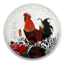 New 2017 Chinese Lunar Zodiac Year of the Rooster Colored Silver Coin Token 60mm