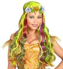 Ladies Long Yellow Green Rainbow Fairy Princess Wig Fairy Tale Fancy Dress