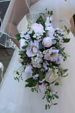 NEW ARTIFICIAL FLOWERS SUMMER WEDDING PINK PEONY WHITE TEAR DROP CASCADE BOUQUET