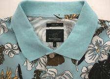 HENRY COTTONS Tropical Floral Print Polo shirt L NWOT Turq blue cotton