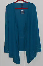 Basic Editions Blue Drape Front L/S Cardigan Sweater With Sequins/1Xlarge Plus