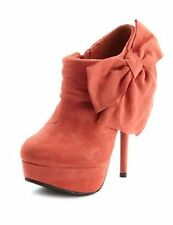 Coral Large Side Bow Round Toe Platform Stiletto High Heel Ankle Boot Booties 8