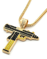 "Mens Gold Black/Yellow Gun Uzi Pendant Hip-Hop 36"" Inch Franco Necklace Chain"