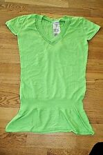 DESIGUAL NEW sz M WOMEN'S TOP BLOUSE TUNIC T-SHIRT GREEN KNITTED THIN Y-NECK HOT