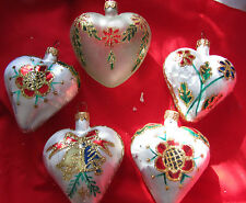 Made in Poland Heart Shaped Glass Christmas Ornaments 5 pc