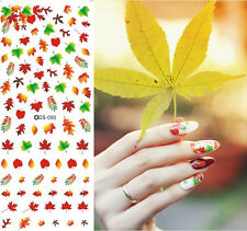 Autumn Maple Red Leaves Water Transfer Nail Art Sticker Decal Decoration Tips