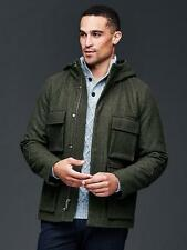 GAP Hooded wool fatigue jacket NWT SZ L green heather