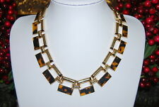 ANNE KLEIN BOLD CHUNKY STATEMENT NECKLACE FAUX TURTLE SHELL ON GOLD TONED METAL