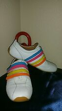 "LACOSTE ""Mystere Punched"" Women's Athletic Shoes Multi-Color Velcro Stripes 8"