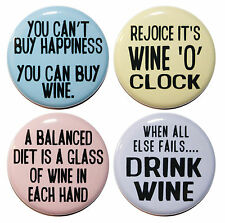 "1.25"" (32mm) SET OF 4 Funny WINE LOVER inspired Fridge Magnets (32mm)"