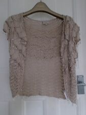 KAREN MILLEN  cream beige crochet cardigan/ cover size 3 or 12