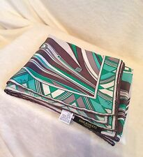 """NEW EMILIO PUCCI Patterned Scarf, GREEN BROWN WHITE GRAY - 34"""" X 34"""""""