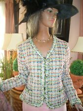 LUXUS COUTURE ESCADA BOUCLE BLAZER tweed jacket multicolor 44/46 NP980 Golf Club
