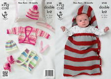 King Cole DK Knitting Pattern 3742:Boleros,Snuggle Bag,Hat & Bootees