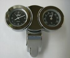 Montre Thermomètre guidon fond noir - Watch & Thermometer Universal moto custom